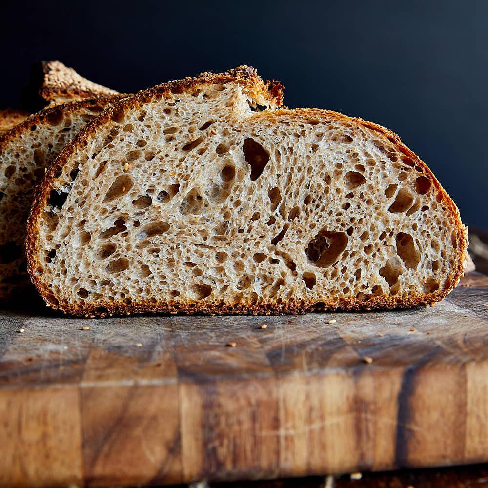 Cross section of sourdough bread.