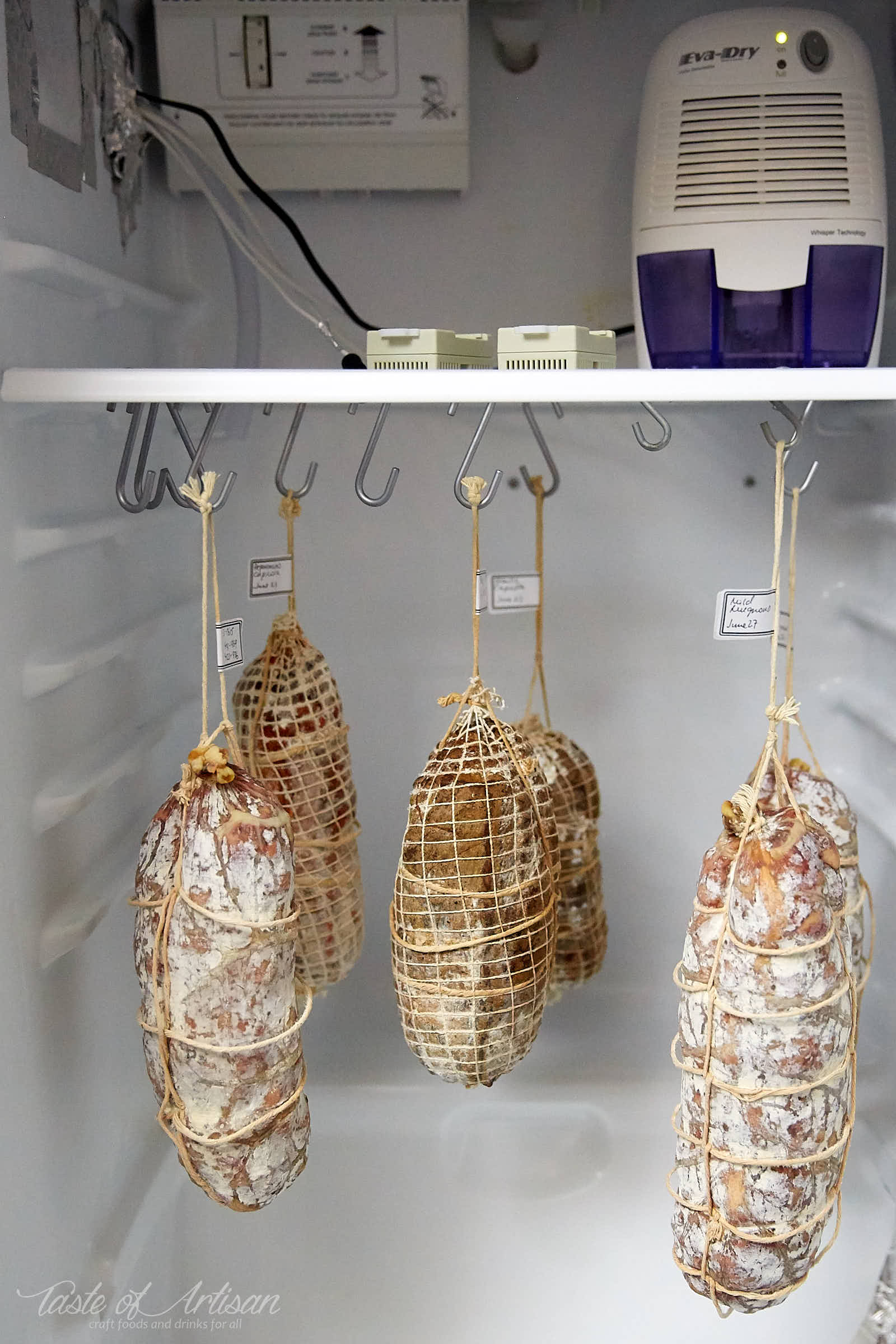 Meat Curing Chamber at home. This meat curing chamber is advanced enough to allow full control of temperature and humidity, which allows consistent and predictable results. | Taste of Artisan