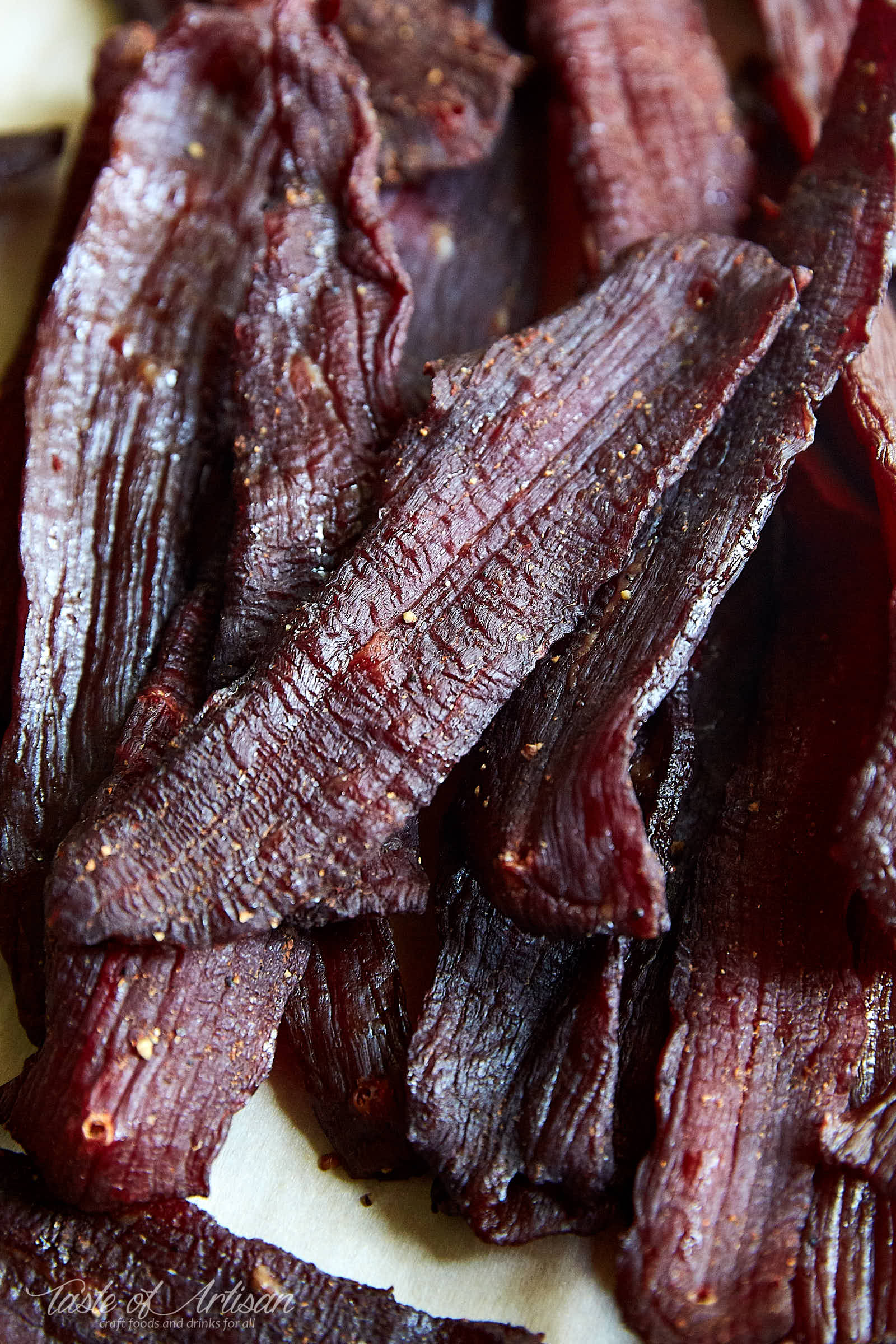Beef jerky made in the oven - delicious, chewy and addictive. | Taste of Artisan