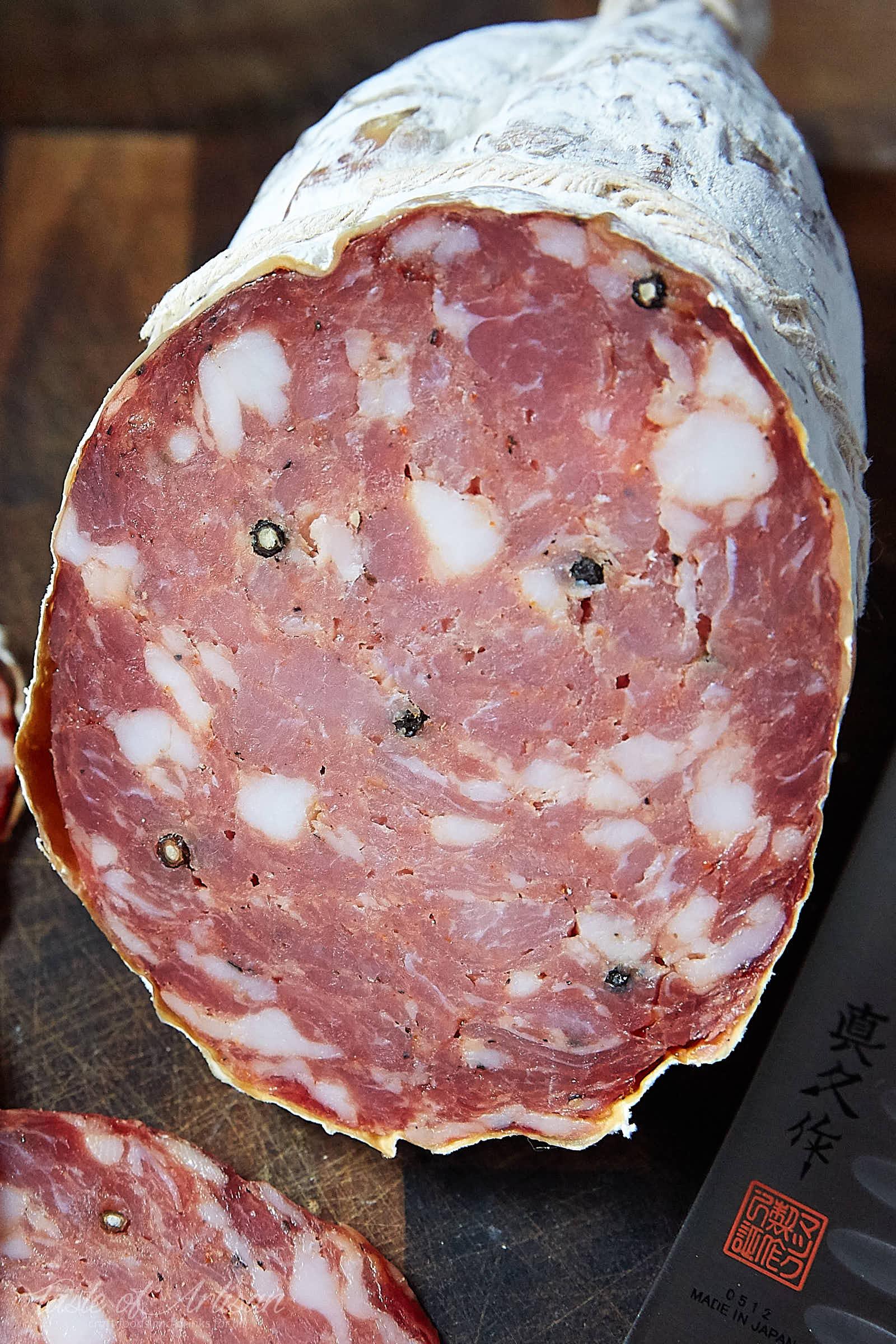 Cured Salami that exhibits case hardening.   Taste of Artisan