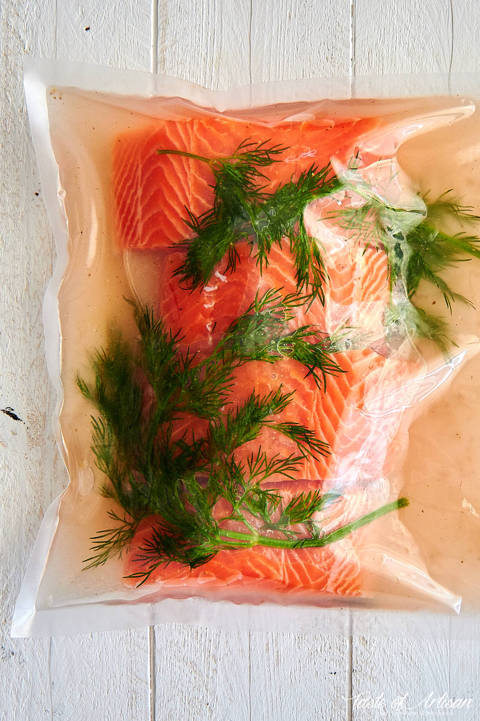 Sous Vide Salmon - putting salmon in brine makes it very flavorful and seasoned inside out. | Taste of Artisan