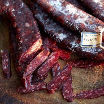 Homemade sujuk (sudzhuk, sojuk) - dry cured beef sausage made from scratch.