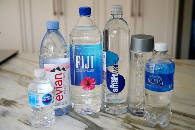 RO water taste test against Nestle, Fiji, Evian, Voss, Aquafina, and Glaceau