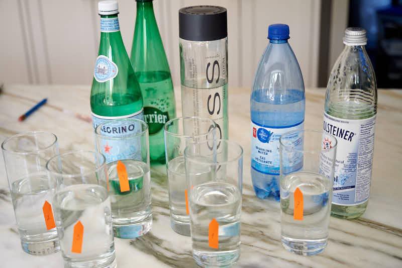 Taste te3st of home-carbonated water against Perrier, Voss, Gerolsteiner, San Pellegrino
