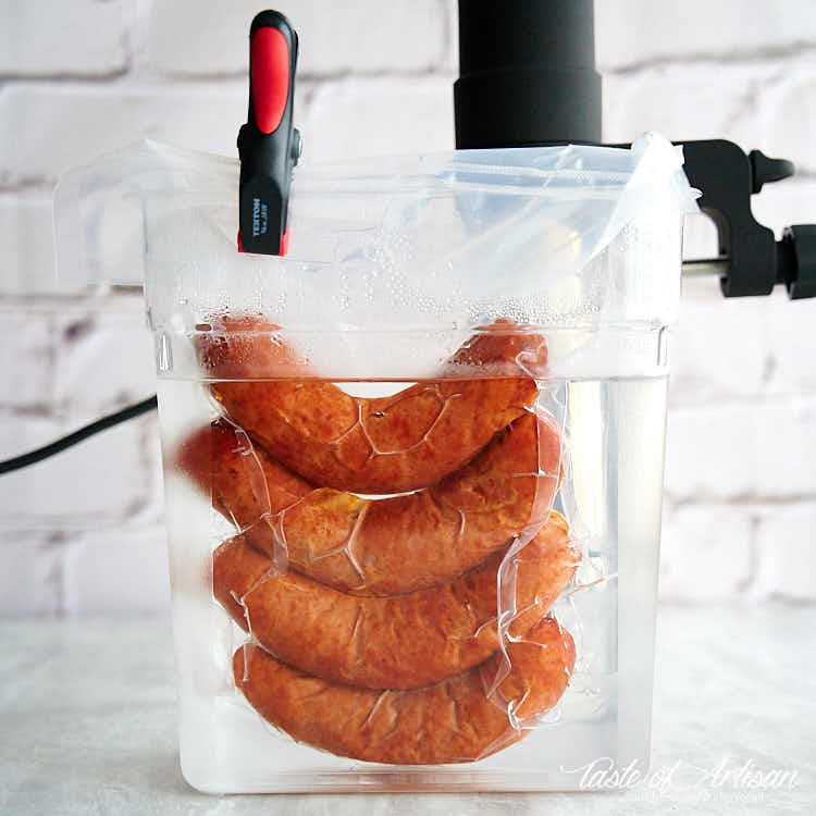 Smoked bockwurst sausages poached in a sous vide machine.