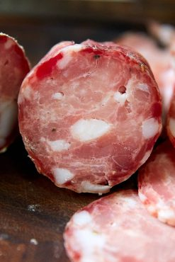 Cross section of sopressata, slices of sopressata