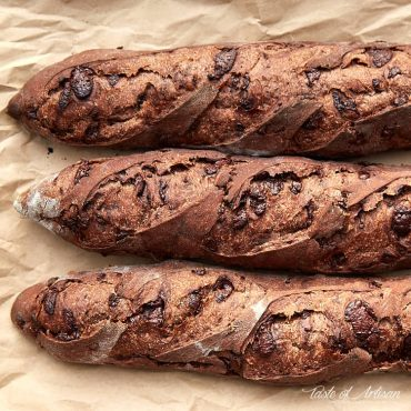 Three chocolate baguettes side by side.