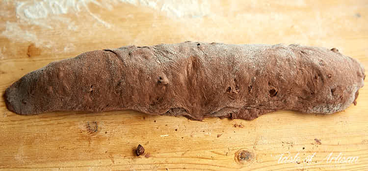 Fully rolled up chocolate baguette.