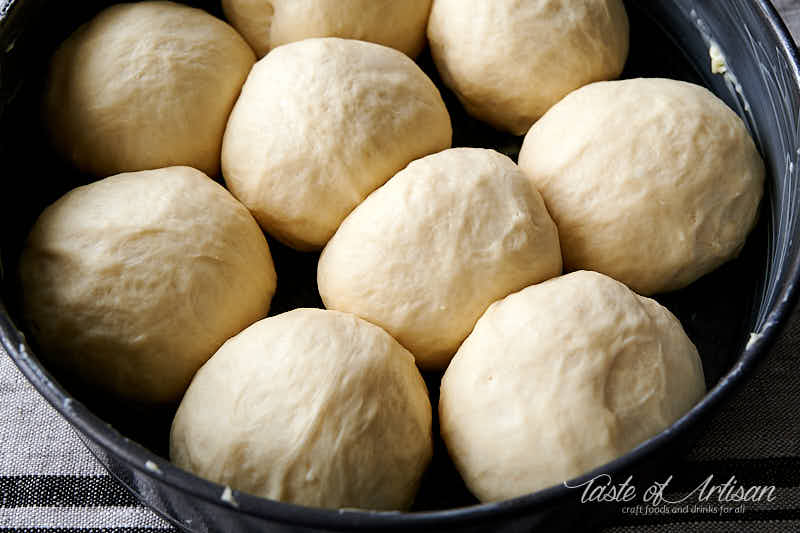 Pampushki dough balls proofed.
