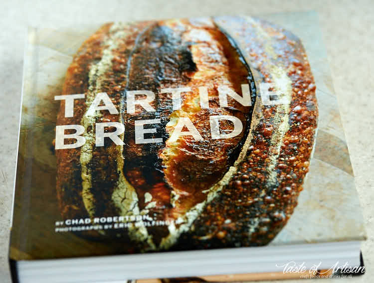 Tartine Bread book on a table.