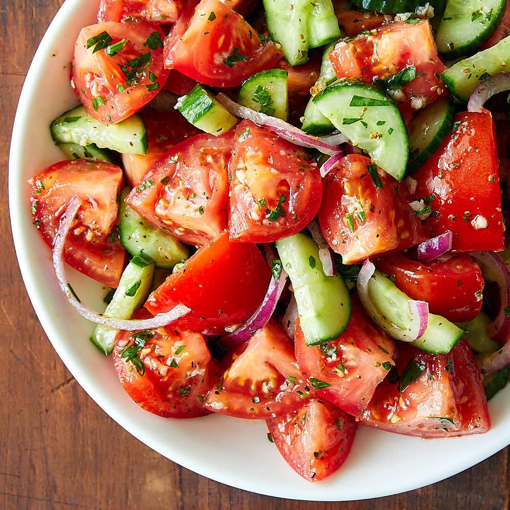 Rustic Tomato and Cucumber Salad
