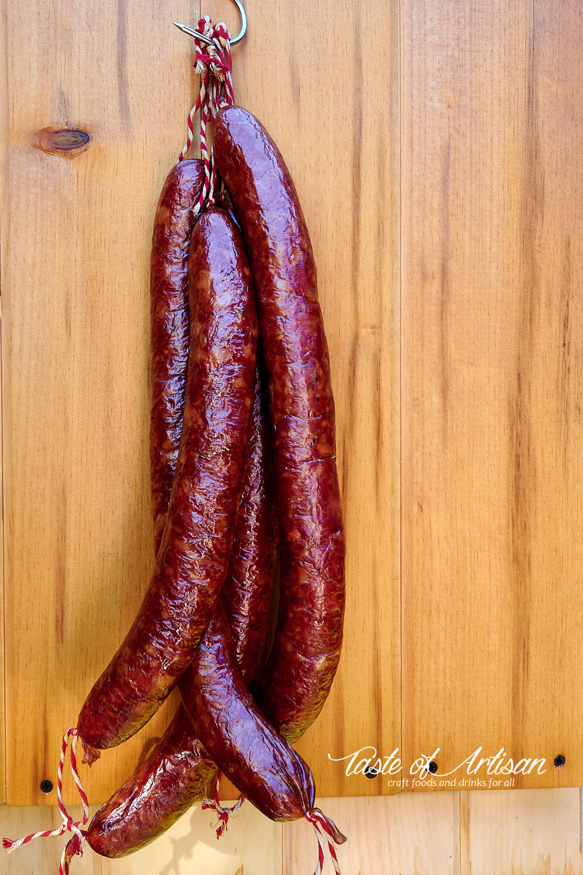 Dark mahogany color Andouille sausages after 7 hours of smoking.7