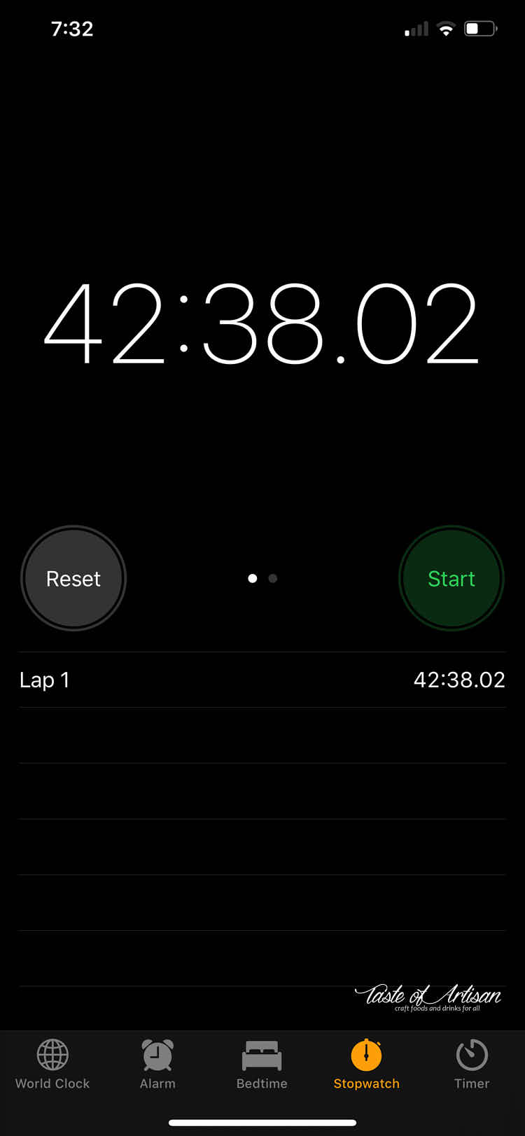 Timer that shows time it took to finish smoked kielbasa in the oven.