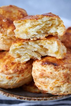 Close up of golden brown biscuits.