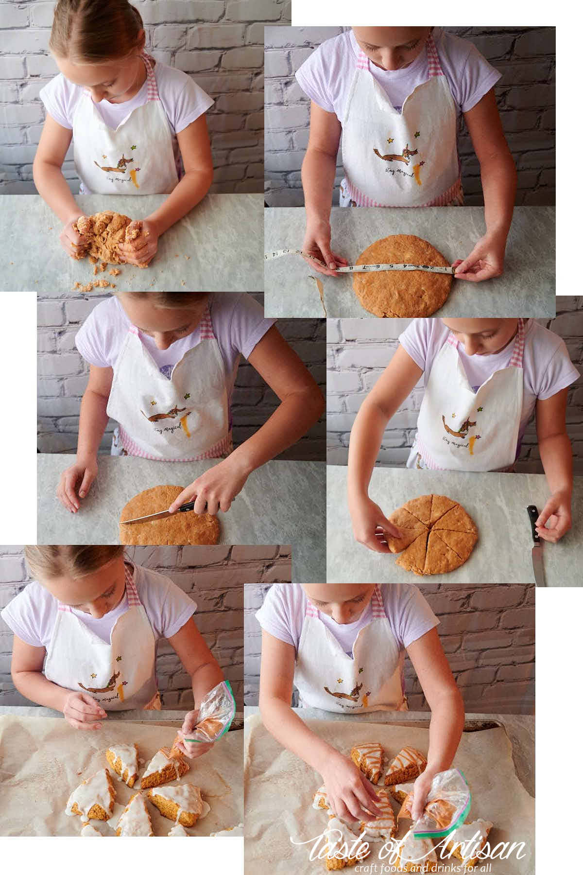 Making pumpkin scones, a collage of pictures.