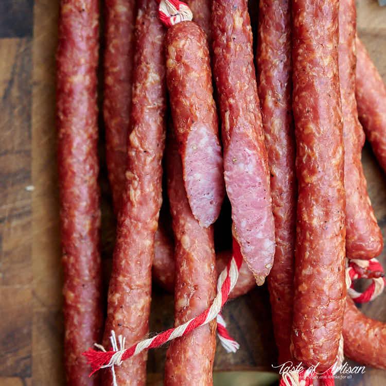 Close up of cut kabanos sausage.