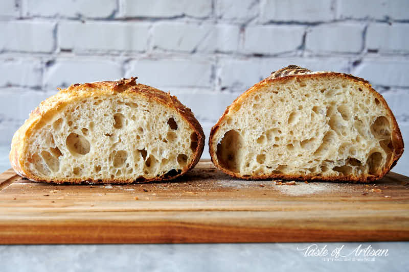 Two loaves of bread, cut in half, side by side.