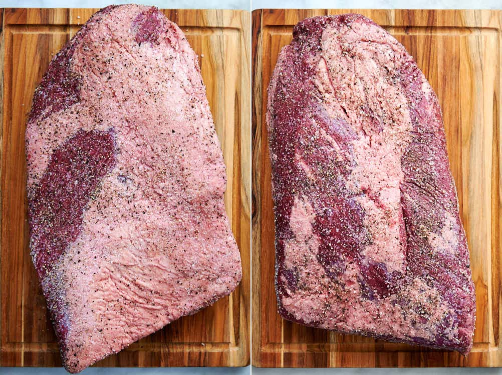 Raw brisket flat, seasoned with salt and pepper, ready for smoking.