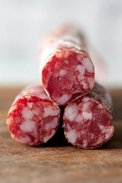Cross section of dry cured fuet.
