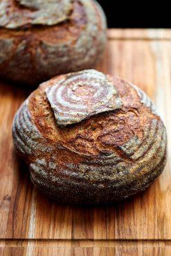 Loaves of whole wheat sourdough bread