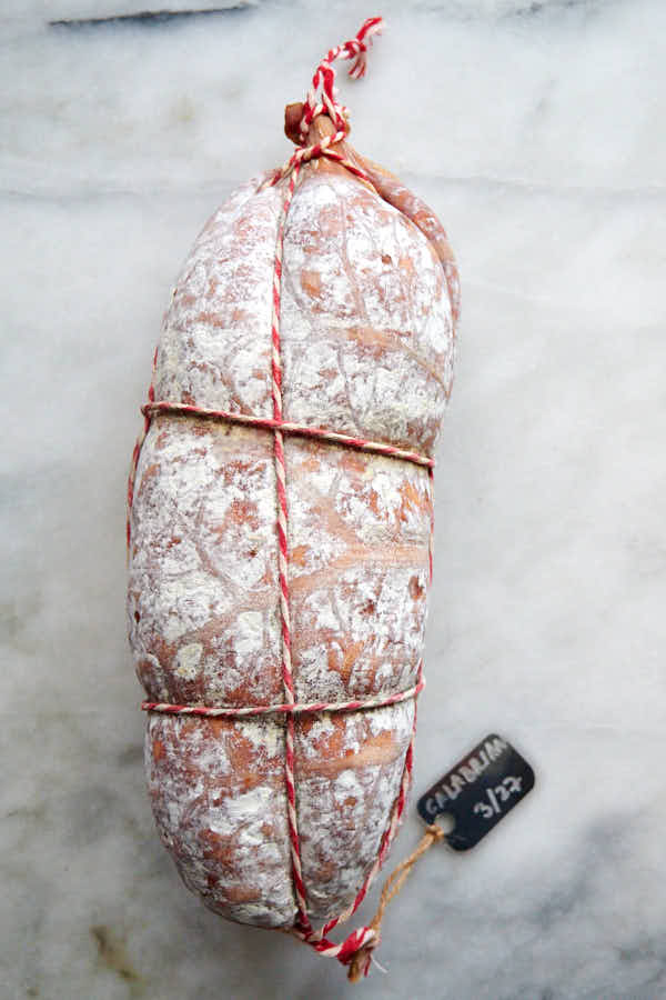 Calabrian salami covered in white mold