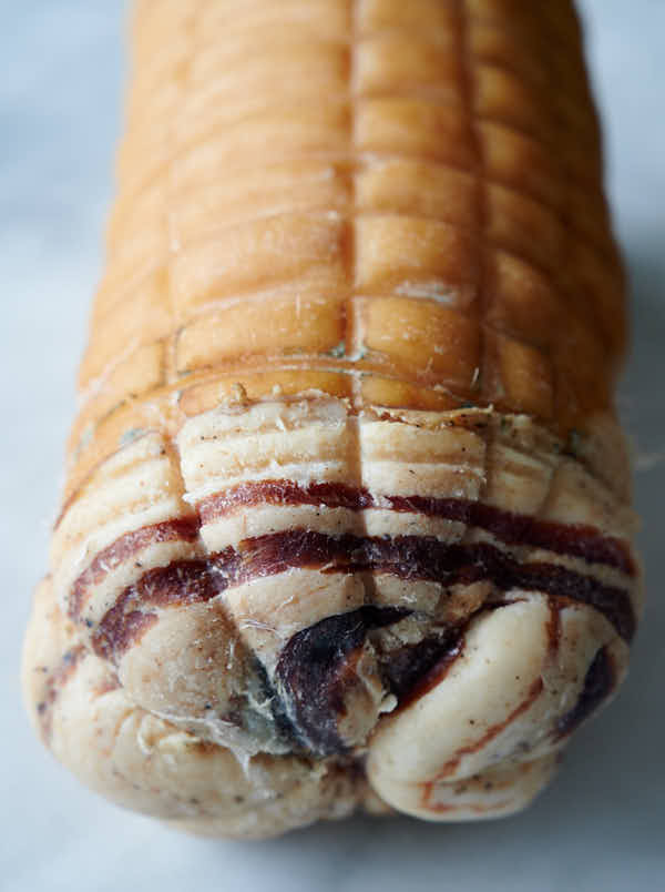 Ends of rolled pancetta
