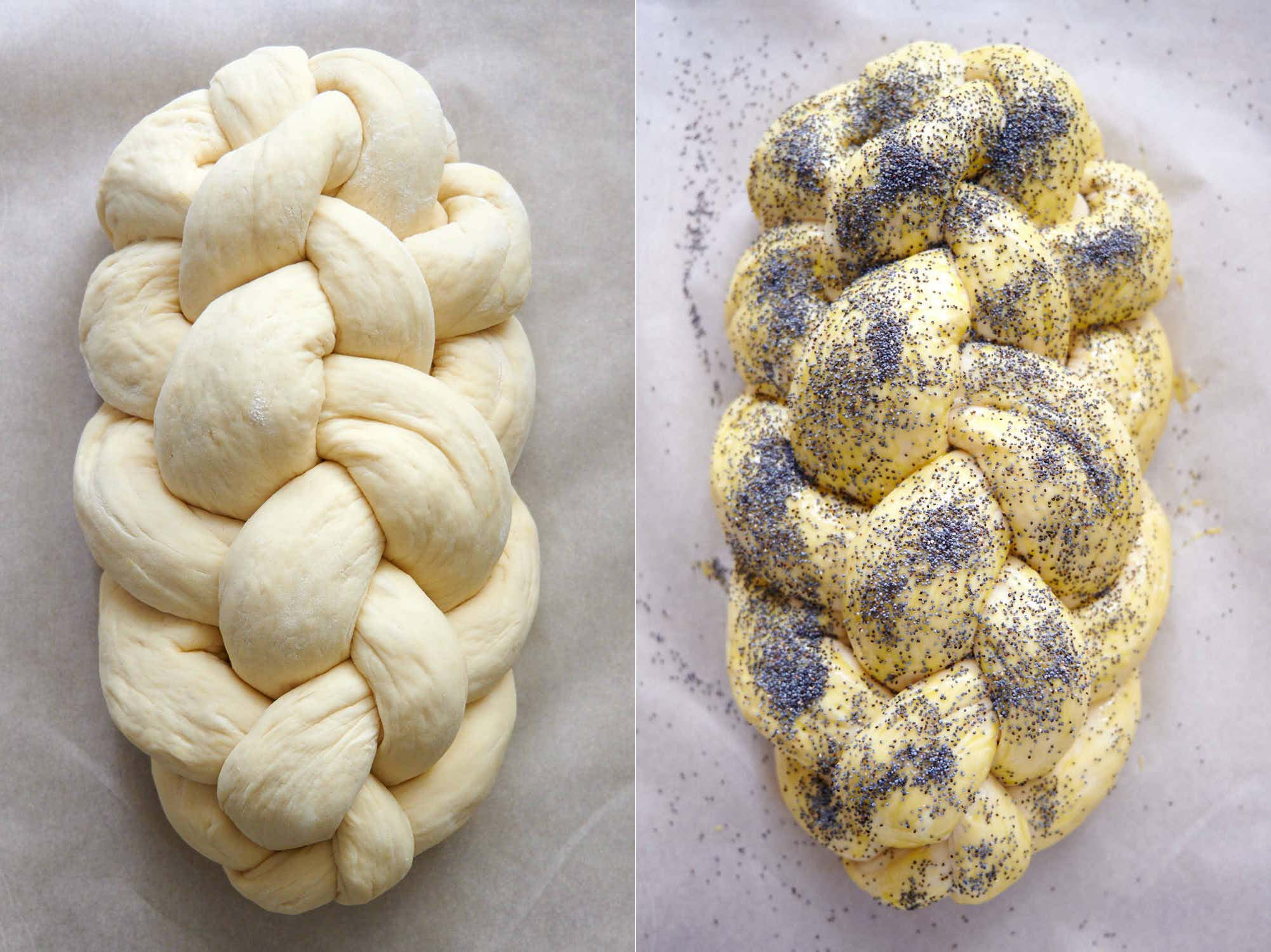 Six-strand braided challah bread example.