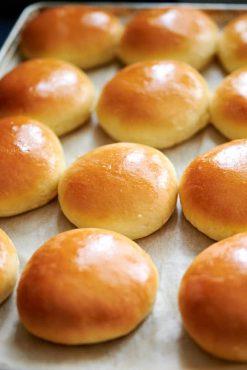 Homemade hamburger buns close up.