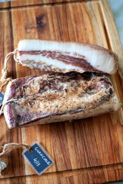 Close up of cured homemade guanciale