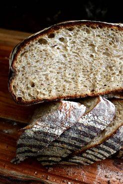 Sliced rustic sourdough bread