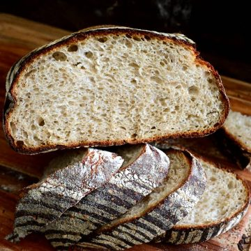 Sliced rustic sourdough bread