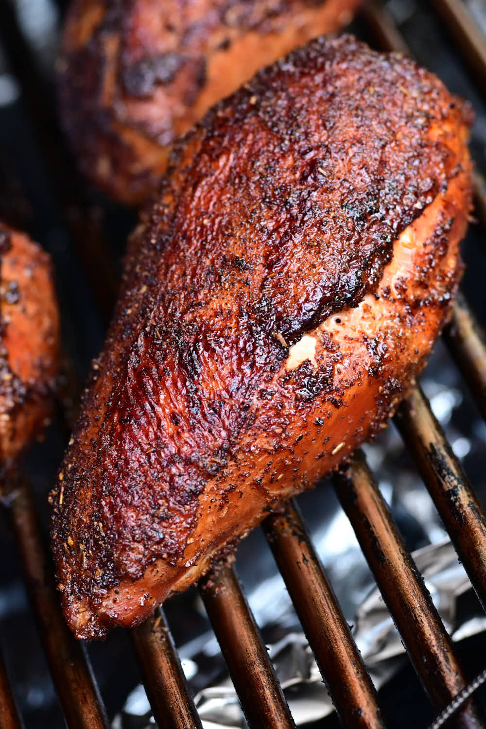 Close up of a smoked chicken breast