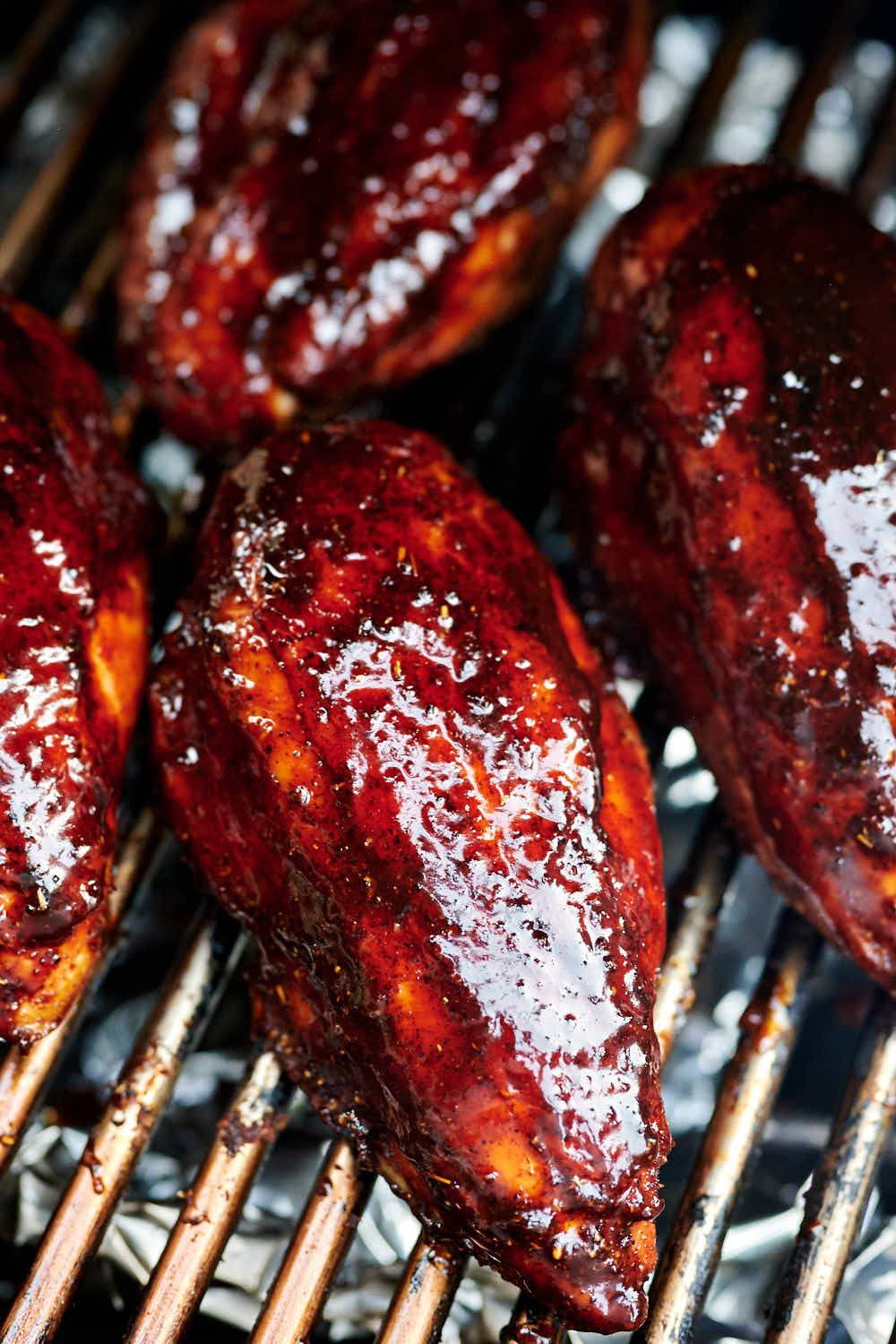 Smoked chicken breast glazed with BBQ sauce