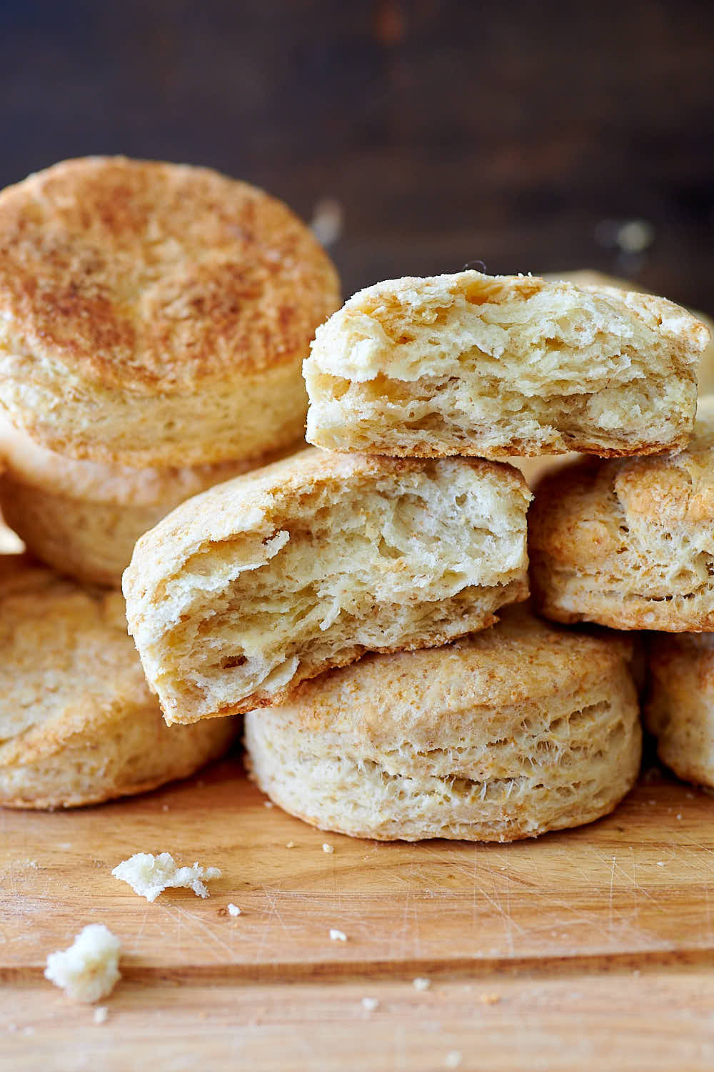 A pile of sourdough biscuits