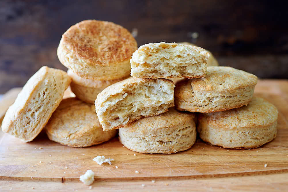 Flaky, airy sourdough biscuits