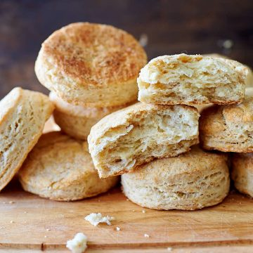 Sourdough biscuit fluffy with browned tops