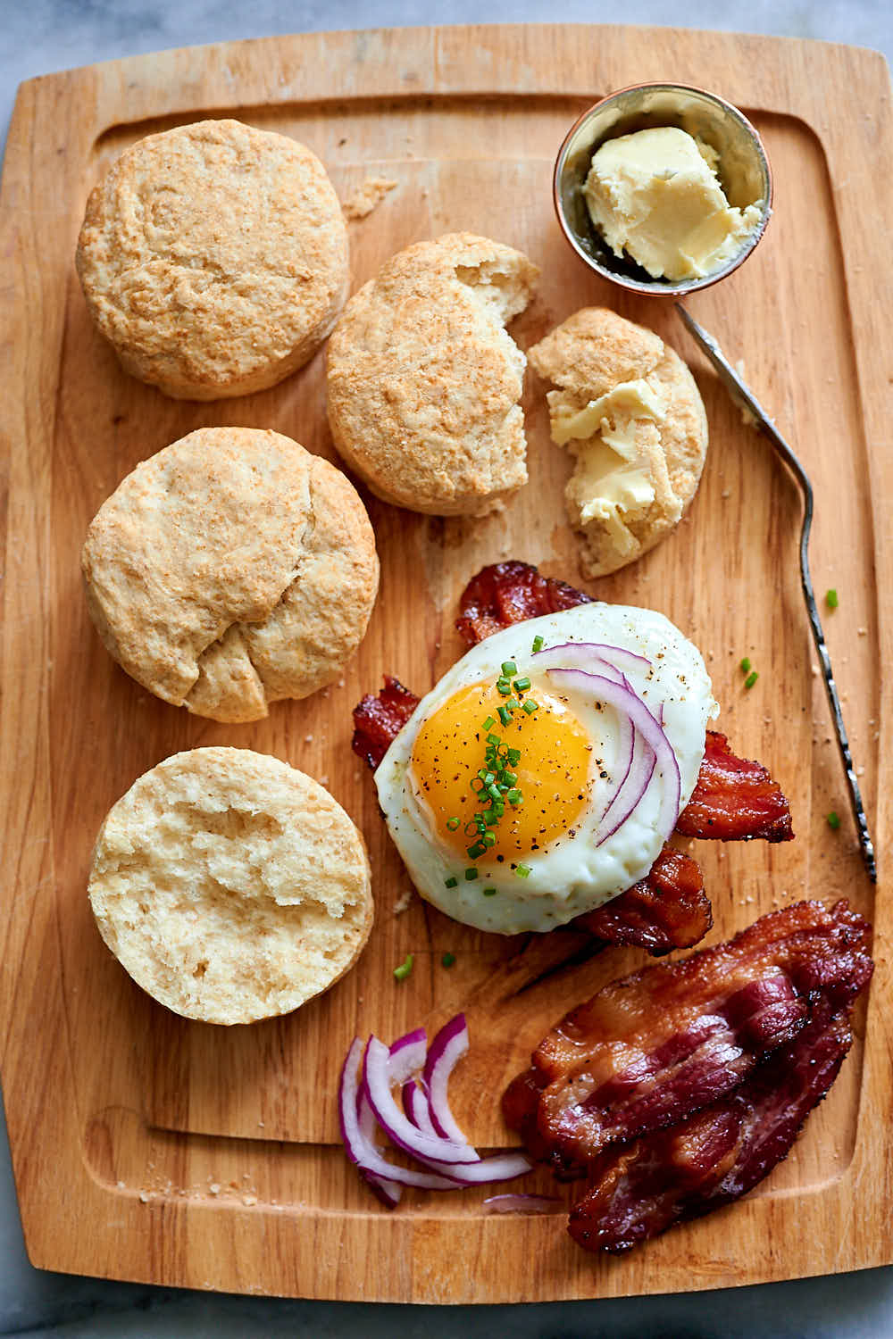 sourdough biscuits with eggs and bacon.