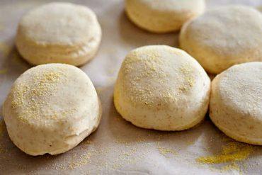 Puffed up sourdough dough circles