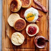 Sourdough English muffins with jam and butter