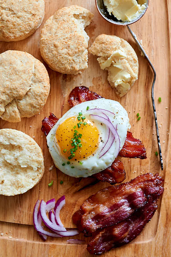 Homemade bacon and biscuits