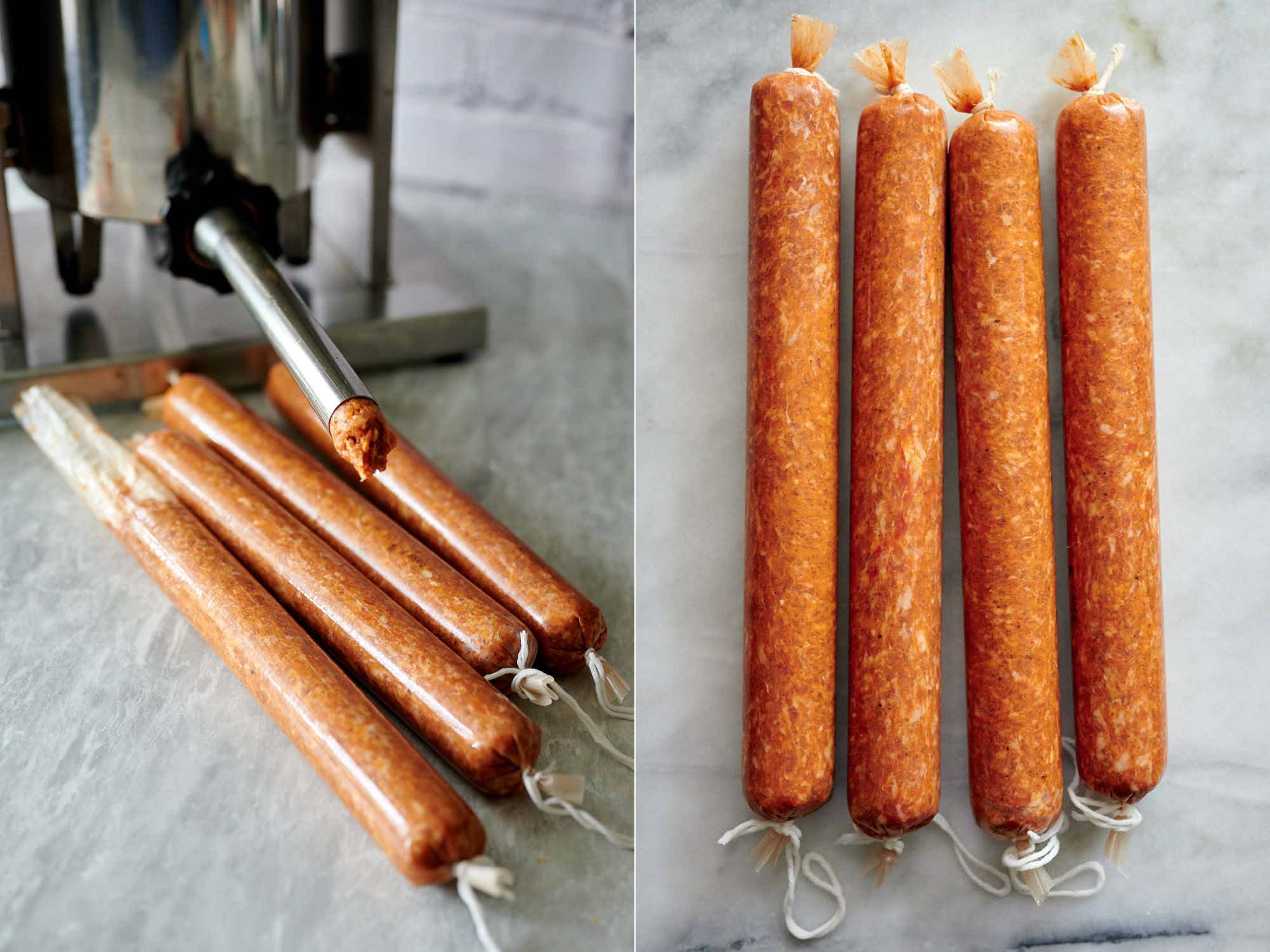 Stuffing pepperoni into casings