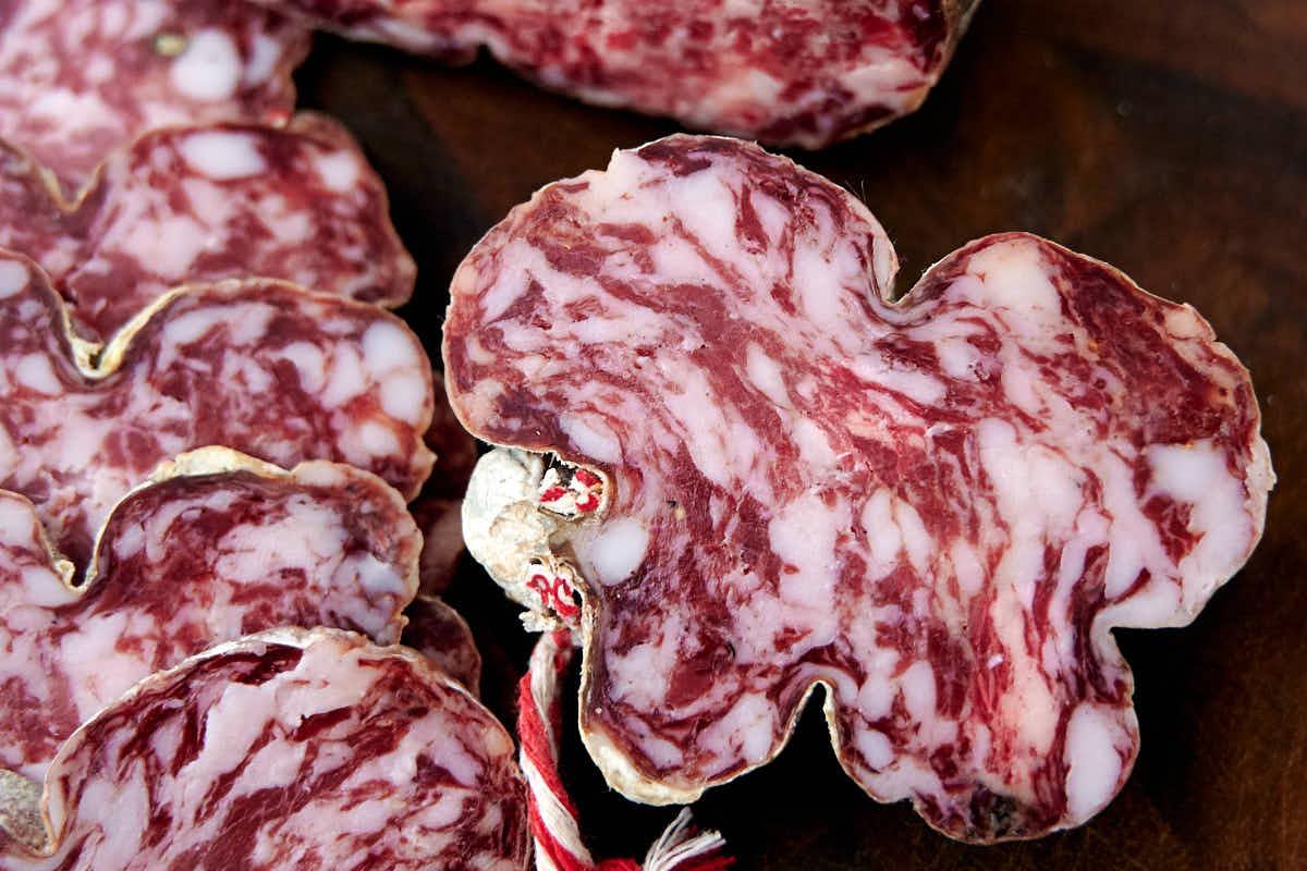 Sliced homemade salami