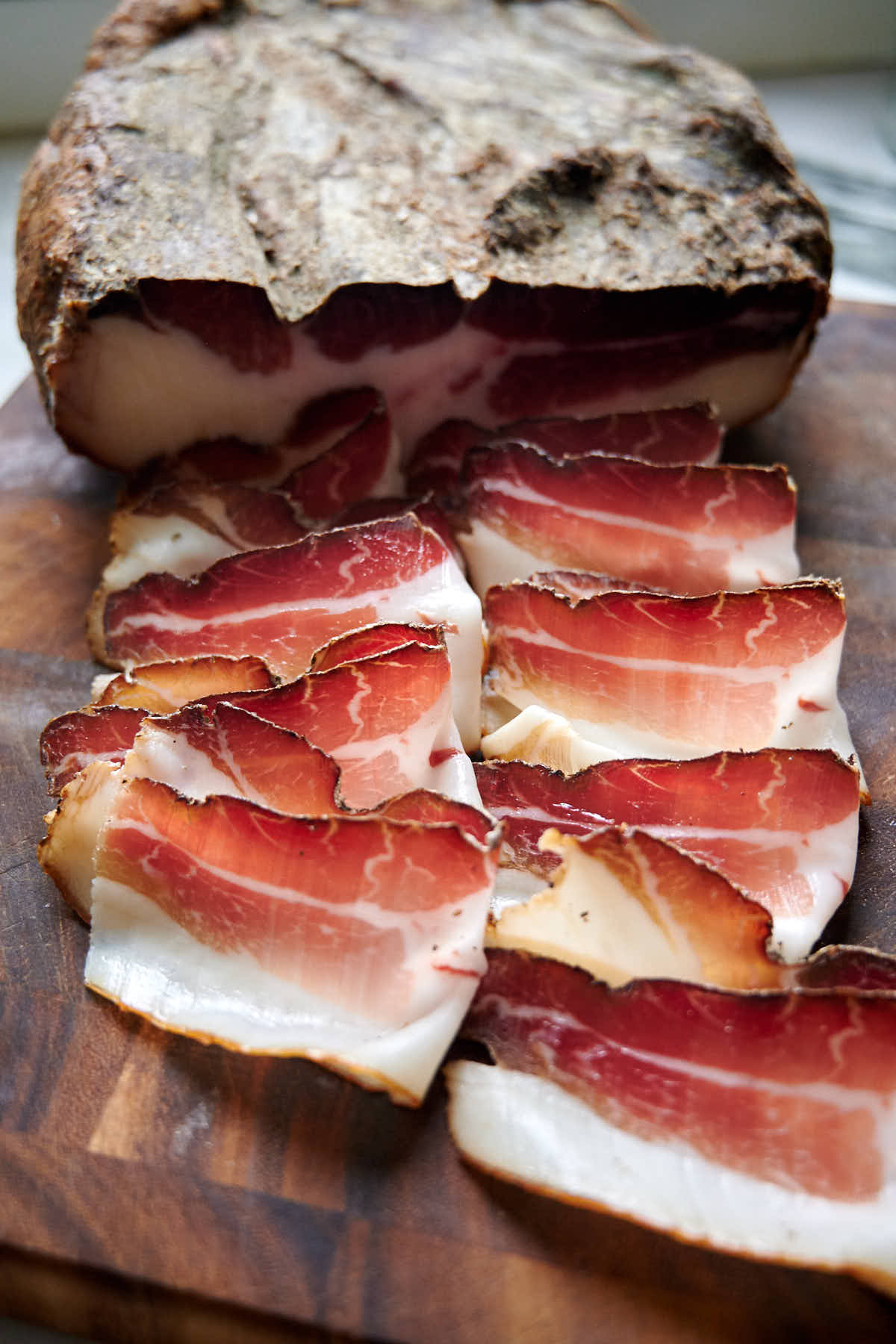 Sliced dry-cured speck