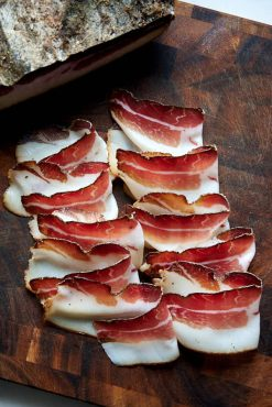 Speck - Italian smoked and dry-cured boneless ham.