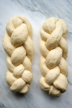 Making challah bread - 4-strand braid.