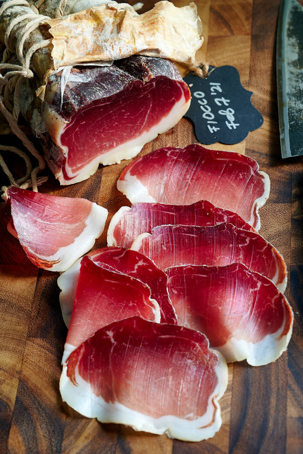 Sliced fiocco - Italian dry cured ham meat
