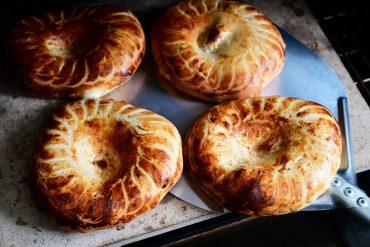 Uzbek bread baking in the oven.