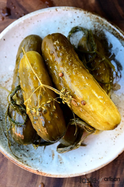 Homemade fermented dill pickles.