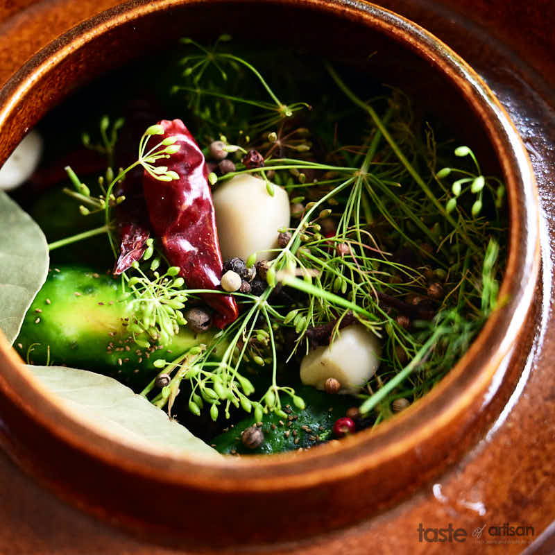 Adding pickles and seasoning to fermentation crock.