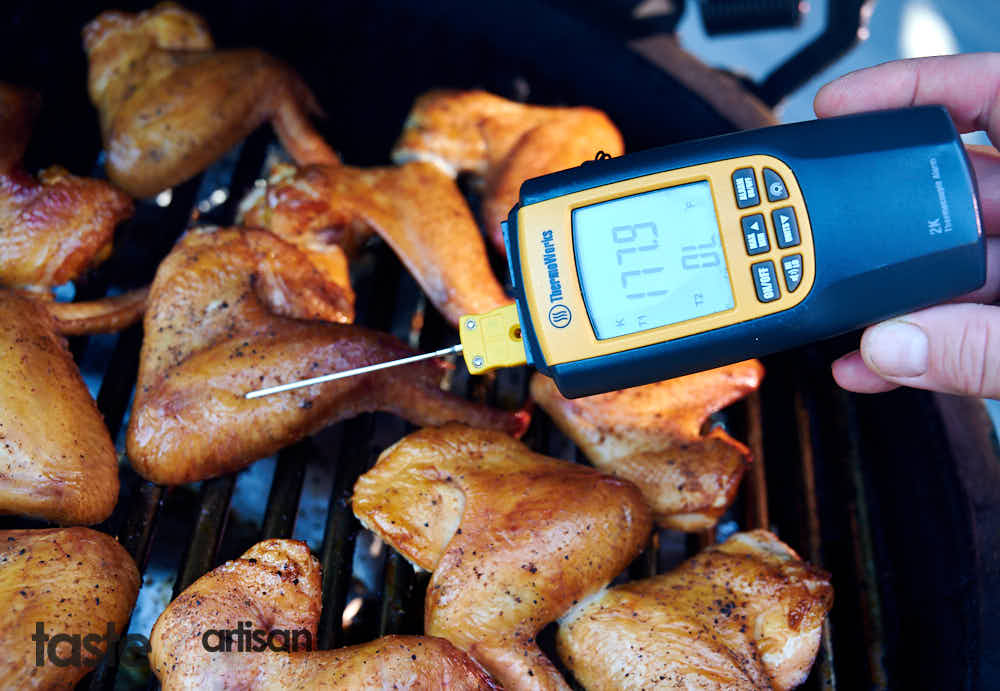 Internal temperature of smoked chicken wings - 180F.